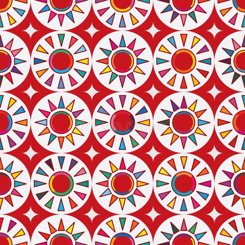 Modèle sans couture du soleil rouge du Japon d'abrégé sur drapeau de Taïwan illustration libre de droits