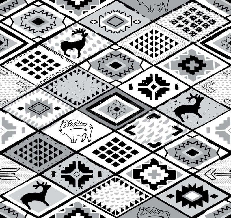 Modèle sans couture du sud-ouest avec les cerfs communs, le buffle et les triangles illustration de vecteur