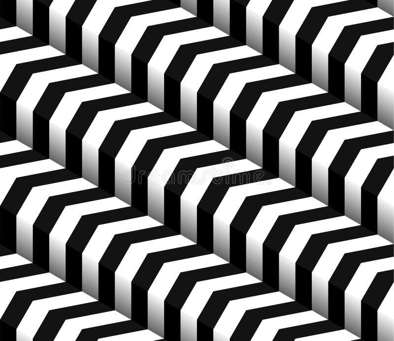 modèle sans couture du vecteur 3d blanc noir à carreaux illustration stock