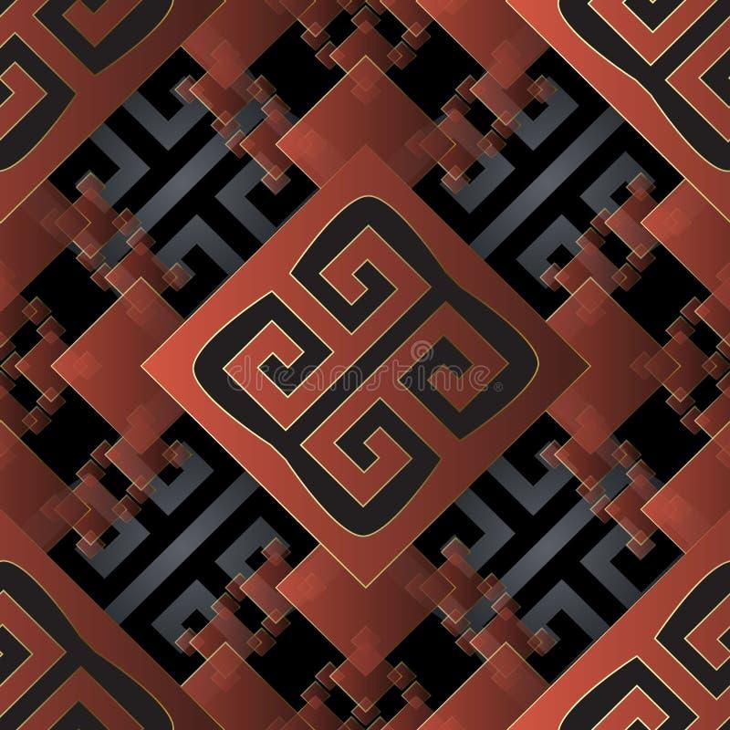 Modèle sans couture du vecteur 3d géométrique grec Le losange ornemental coloré, places a couvert de tuiles le fond Formes géomét illustration libre de droits