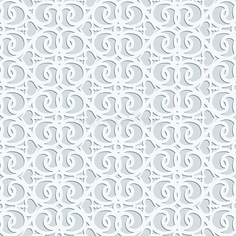 Modèle sans couture du vecteur 3d géométrique gris-clair avec le MOIS oriental illustration de vecteur