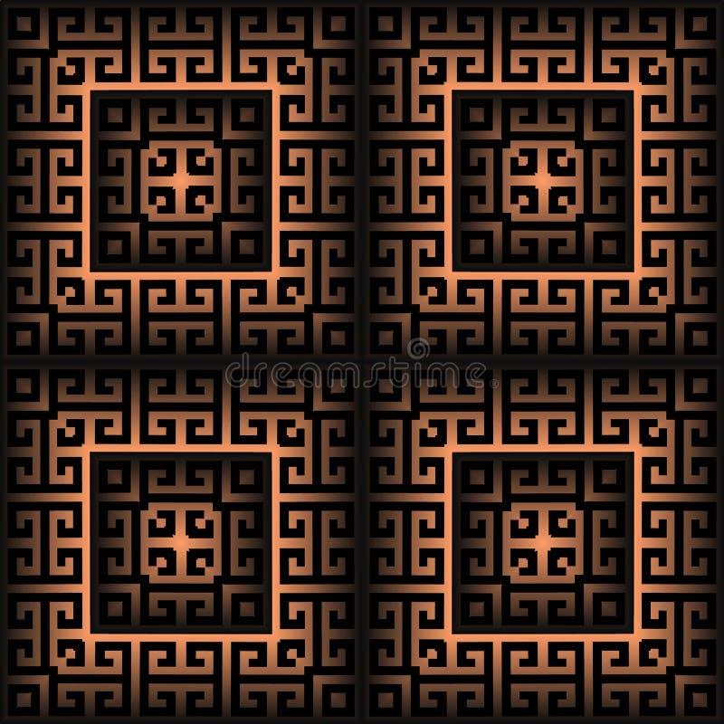 Modèle sans couture du vecteur 3d grec à carreaux extérieur Fond g?om?trique de places Couvrez de tuiles l'ornement principal gre illustration libre de droits