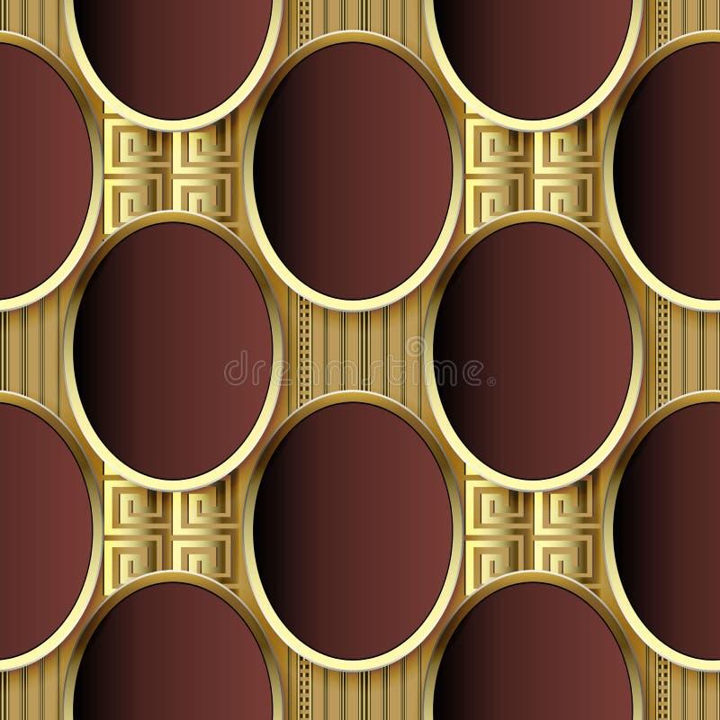 modèle sans couture du vecteur 3d grec de luxe L'ovale carrelé extérieur d'ellipse forme le fond Contexte royal géométrique de ré illustration stock