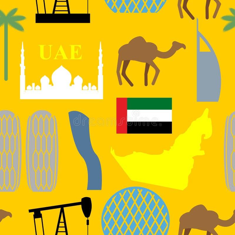 Modèle sans couture Emirats Arabes Unis Désert et chameaux et copain illustration stock