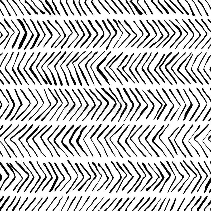 Modèle sans couture en arête de poisson blanc noir de vecteur Aquarelle, fond d'encre Conception scandinave, copie de textile de  illustration libre de droits