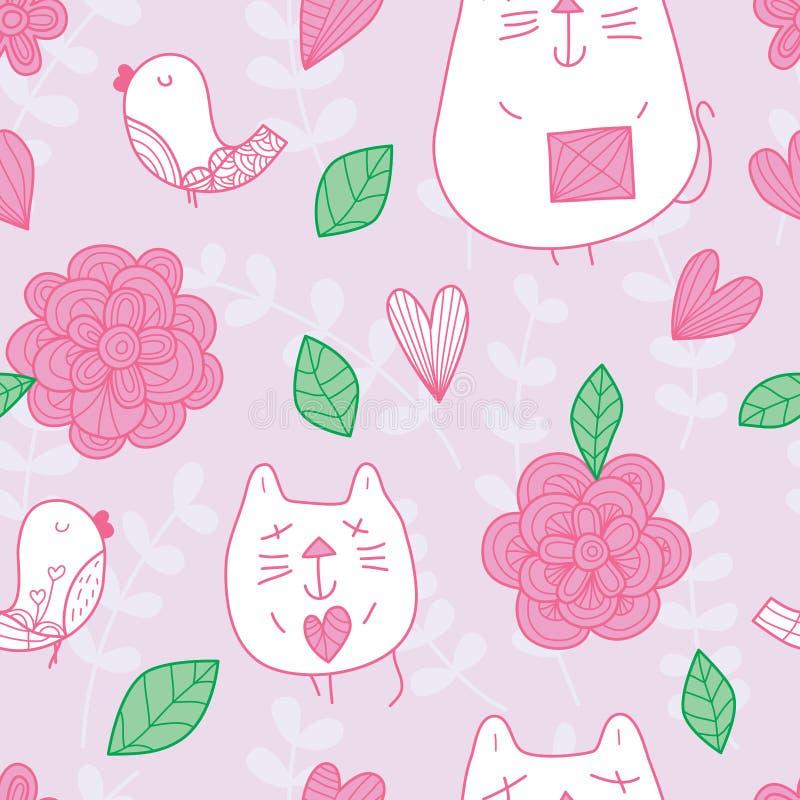 Modèle sans couture en pastel de fleur d'oiseau de chat illustration de vecteur