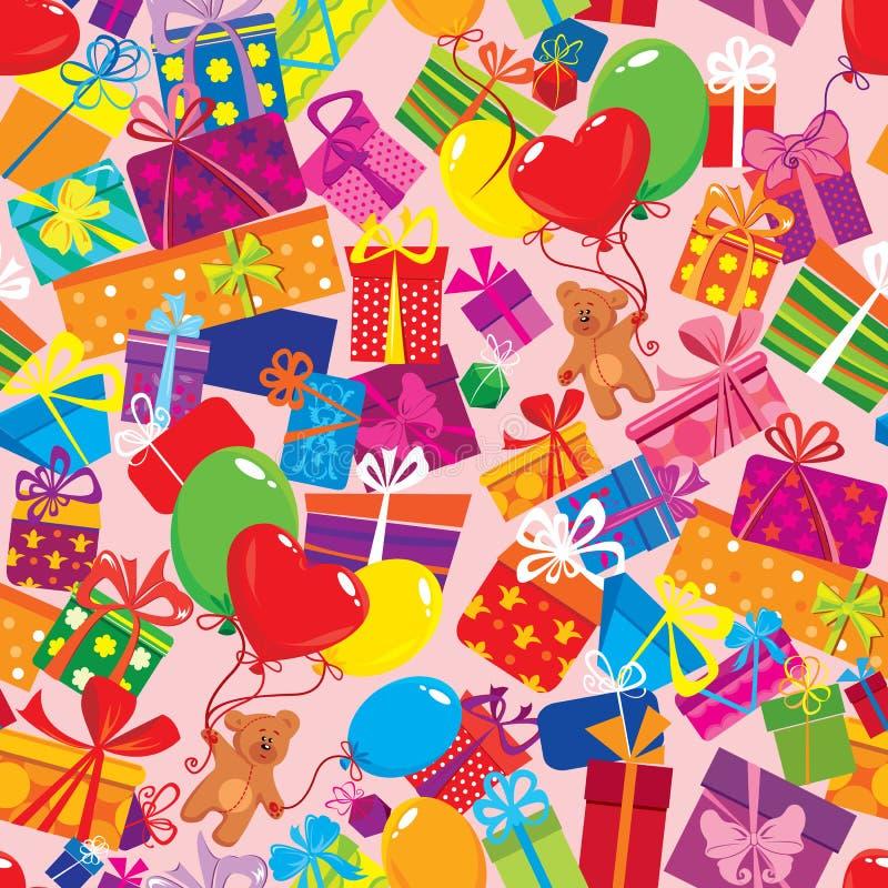 Modèle sans couture en présence des boîte-cadeau colorés, illustration stock