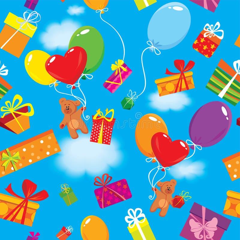 Modèle sans couture en présence des boîte-cadeau colorés, illustration de vecteur
