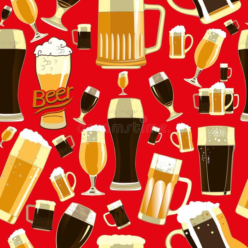 Modèle sans couture en verre de bière illustration libre de droits