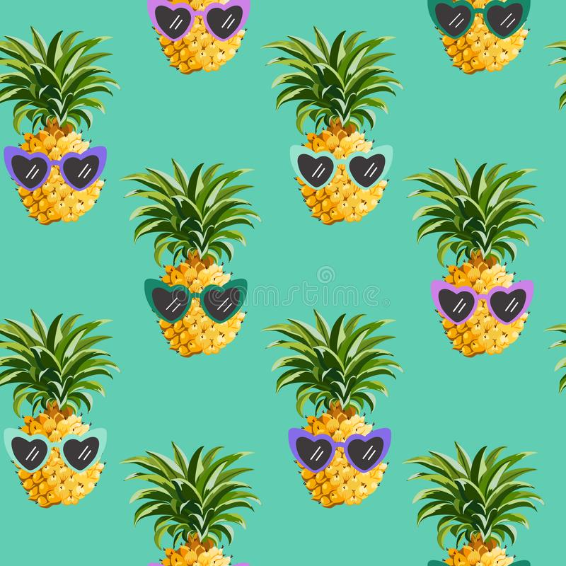 Modèle sans couture en verre drôles d'ananas pour la copie de mode, texture d'été, fond tropical de conception graphique de papie illustration stock