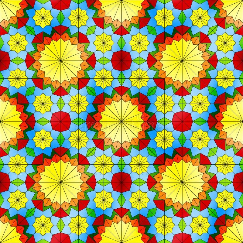 Modèle sans couture en verre souillé avec les fleurs jaunes illustration de vecteur