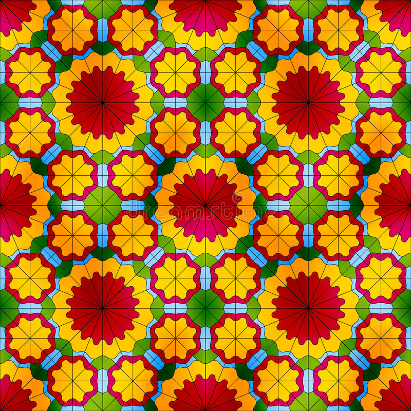 Modèle sans couture en verre souillé avec les fleurs rouges illustration de vecteur