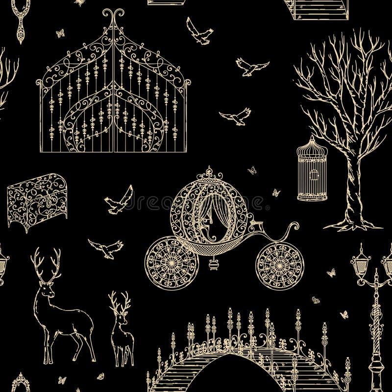 Modèle sans couture enchanté de forêt avec la porte de vintage, lanterne, chariot, pont, arbre, coffre, cage, miroir, cerf commun illustration stock