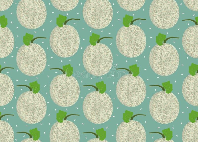 Modèle sans couture entier de melon sur le fond vert avec la graine, fond frais de modèle de melon de cantaloup, vecteur de fruit illustration stock