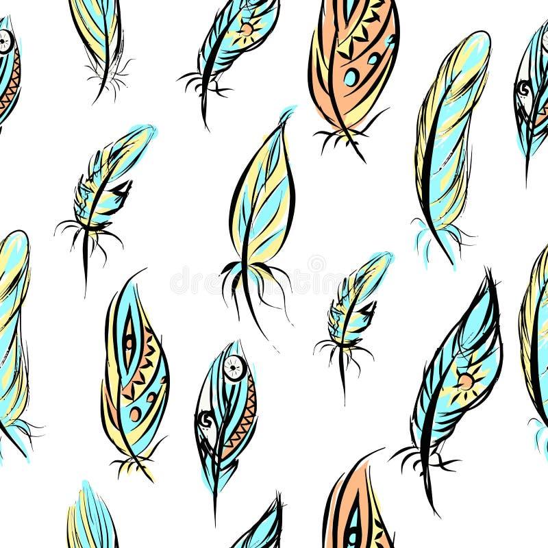 Modèle sans couture ethnique avec des plumes seamless illustration stock