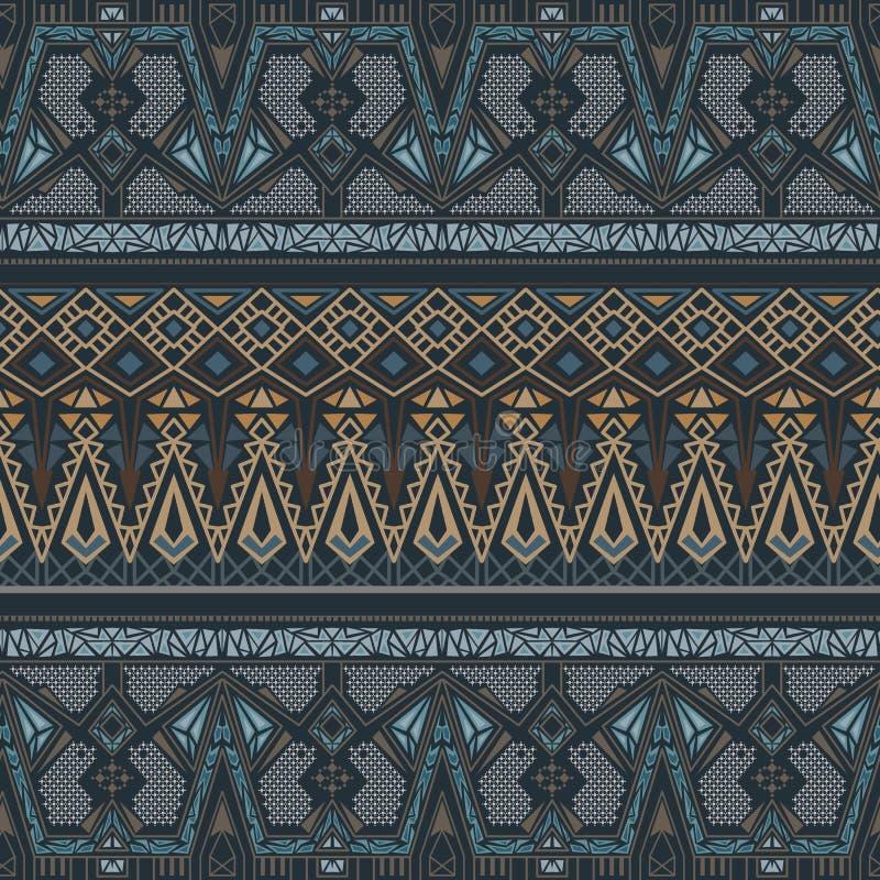 Modèle sans couture ethnique avec l'ornement traditionnel indien dans des couleurs de bleu et d'or illustration de vecteur
