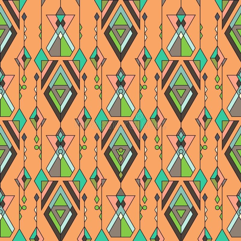 Modèle sans couture ethnique de vintage tribal Aztèque, Mexicain, Navajo, motif africain illustration de vecteur