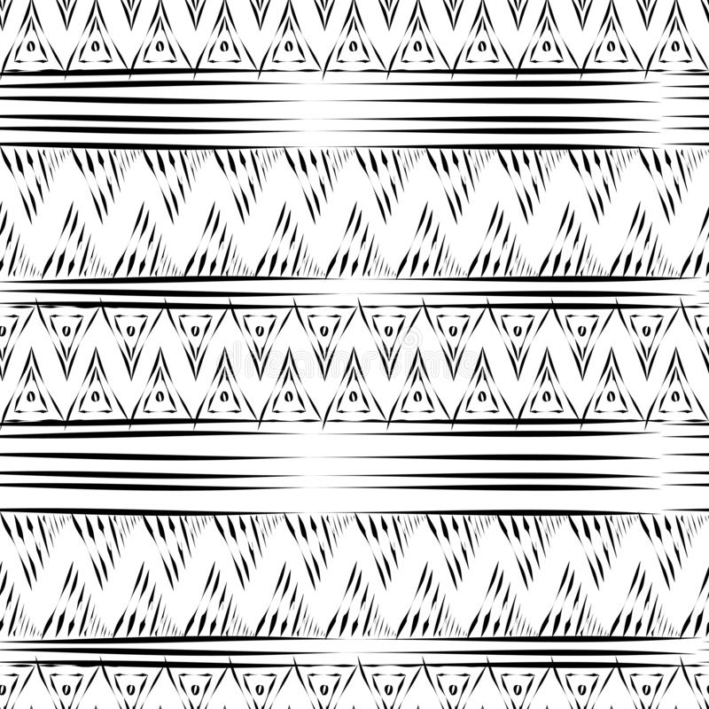 modèle sans couture ethnique tribal de Maya antique avec l'illustration noire et blanche de vecteur de couleur pour la copie et l illustration stock