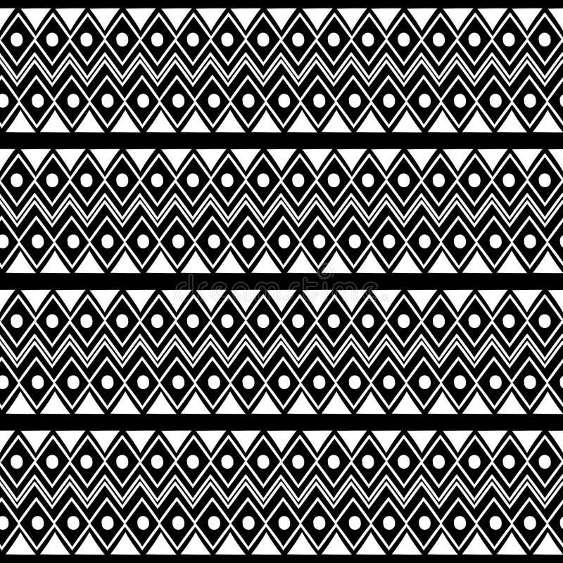 modèle sans couture ethnique tribal de Maya antique avec l'illustration noire et blanche de vecteur de couleur pour la copie et l illustration libre de droits