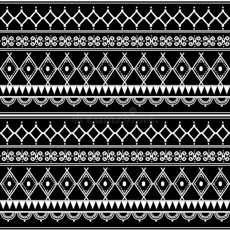 modèle sans couture ethnique tribal de Maya antique avec l'illustration noire et blanche de vecteur de couleur pour la copie et l illustration de vecteur