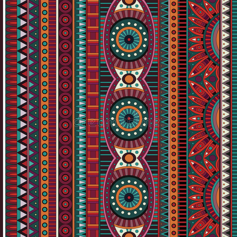 Modèle sans couture ethnique tribal de vecteur abstrait illustration libre de droits
