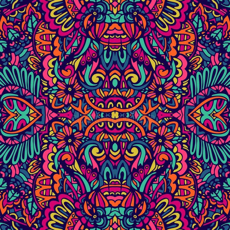 Modèle sans couture ethnique unique de griffonnage coloré abstrait de festival ornemental illustration libre de droits