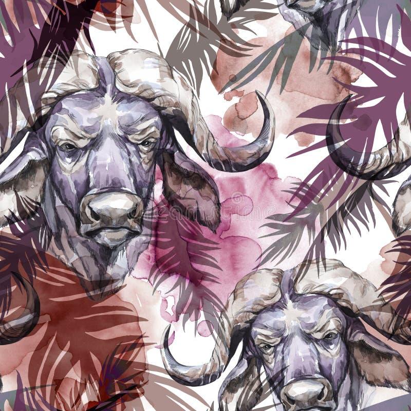 Modèle sans couture exotique d'aquarelle Buffalo avec les feuilles tropicales colorées Fond africain d'animaux Art de faune illustration de vecteur