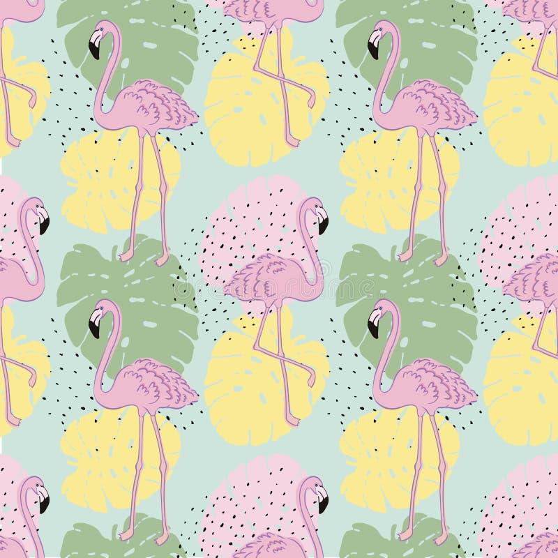 Modèle sans couture exotique tropical de vecteur avec le flamant illustration stock