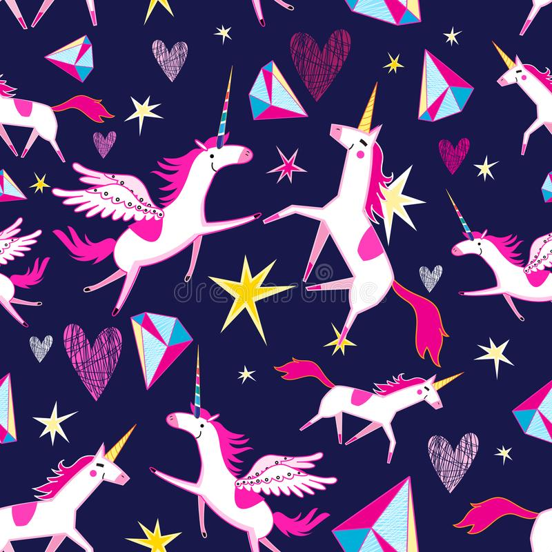 Modèle sans couture féerique des licornes drôles illustration stock