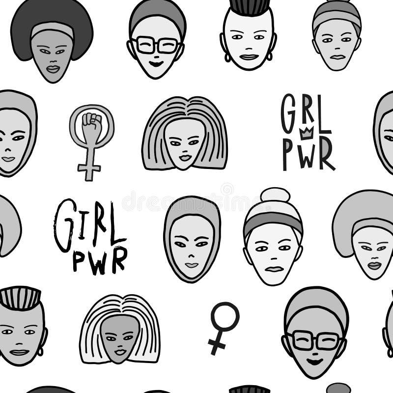 Modèle sans couture féministe de visage de femme de puissance de fille illustration stock