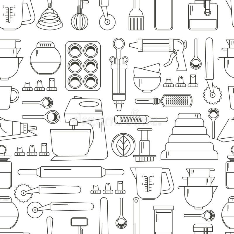 Modèle sans couture faisant cuire des icônes illustration stock