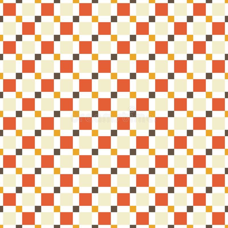 Modèle sans couture fait en squres colorés - bronzages, oranges, rouge et illustration stock