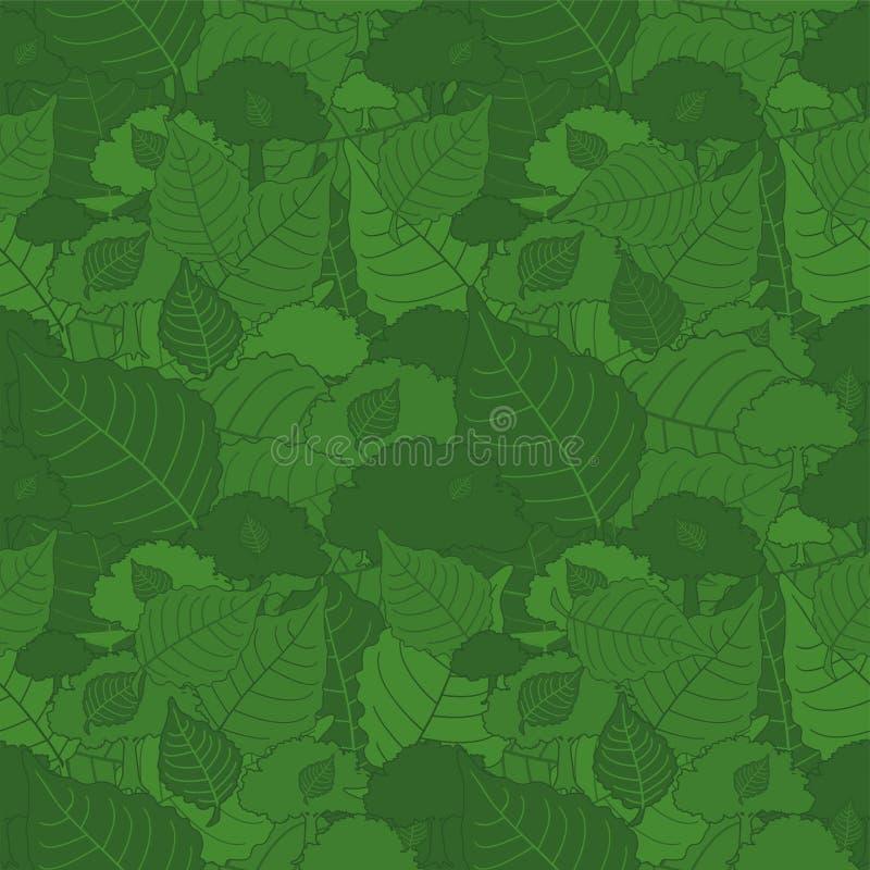 Modèle sans couture, feuilles vertes de peuplier de camouflage pour des tissus, papiers peints, nappes, copies et conceptions abr illustration libre de droits