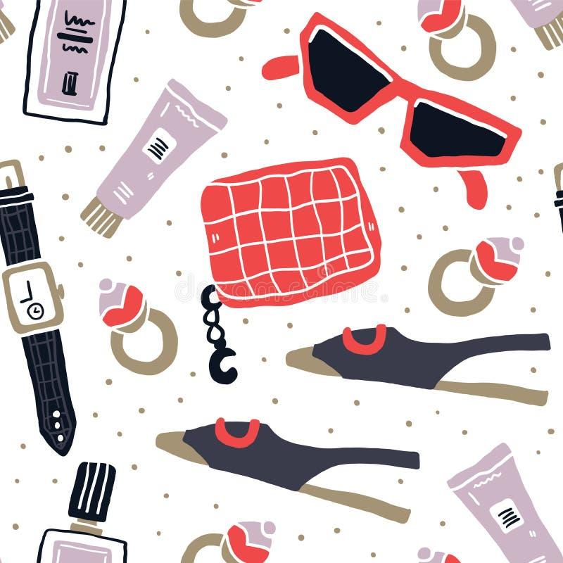 Modèle sans couture flatlay d'accessoires de mode illustration stock