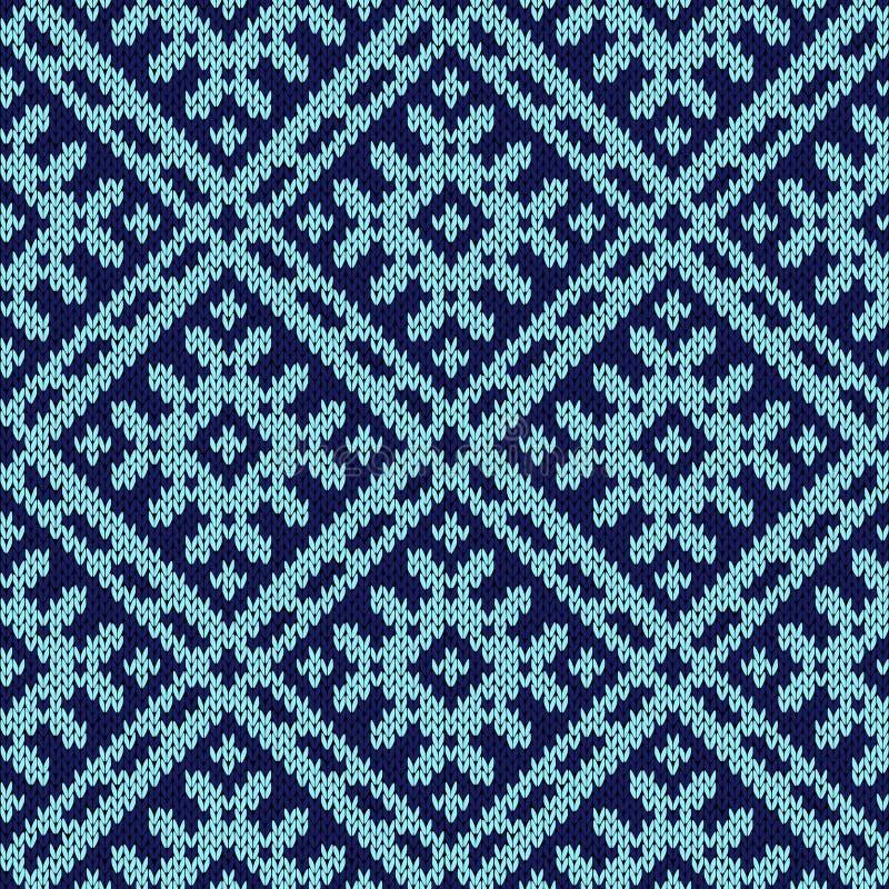 Modèle sans couture fleuri de tricotage dans des tonalités foncées et bleu-clair illustration de vecteur