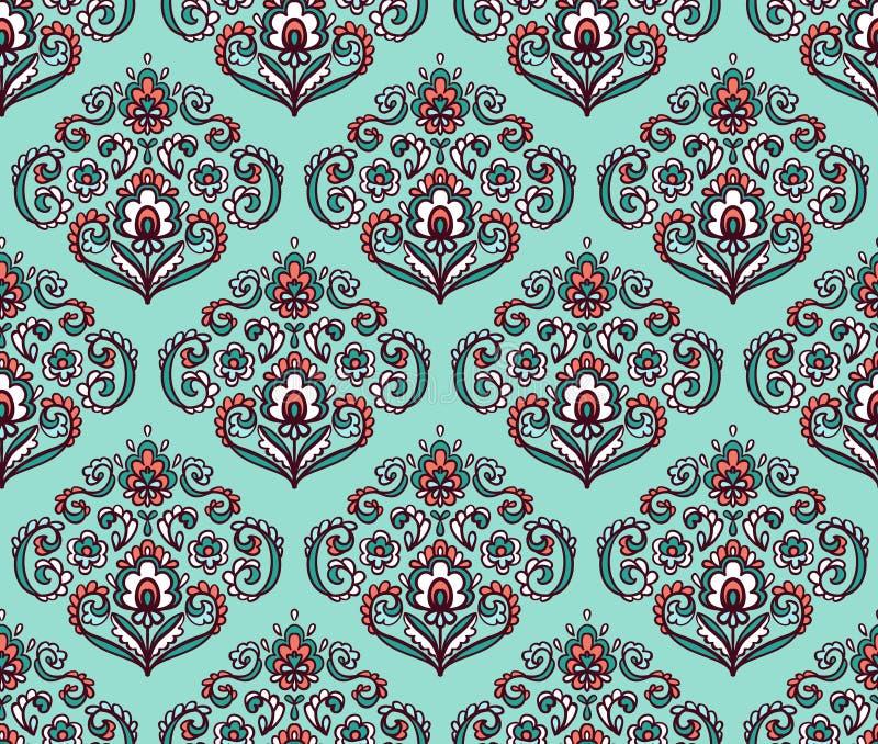 Modèle sans couture fleuri de vintage avec les éléments floraux orientaux Fond ornemental de vecteur illustration libre de droits