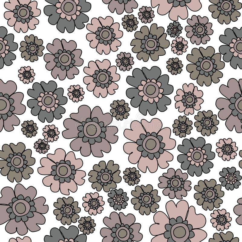 Modèle sans couture floral écervelé chic de Boho, modèle floral de répétition de fond extérieur de modèle de fleurs de neutres po illustration de vecteur