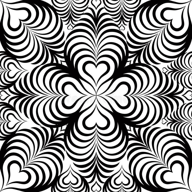 Modèle sans couture floral abstrait avec la ligne noire et blanche coeur illustration libre de droits