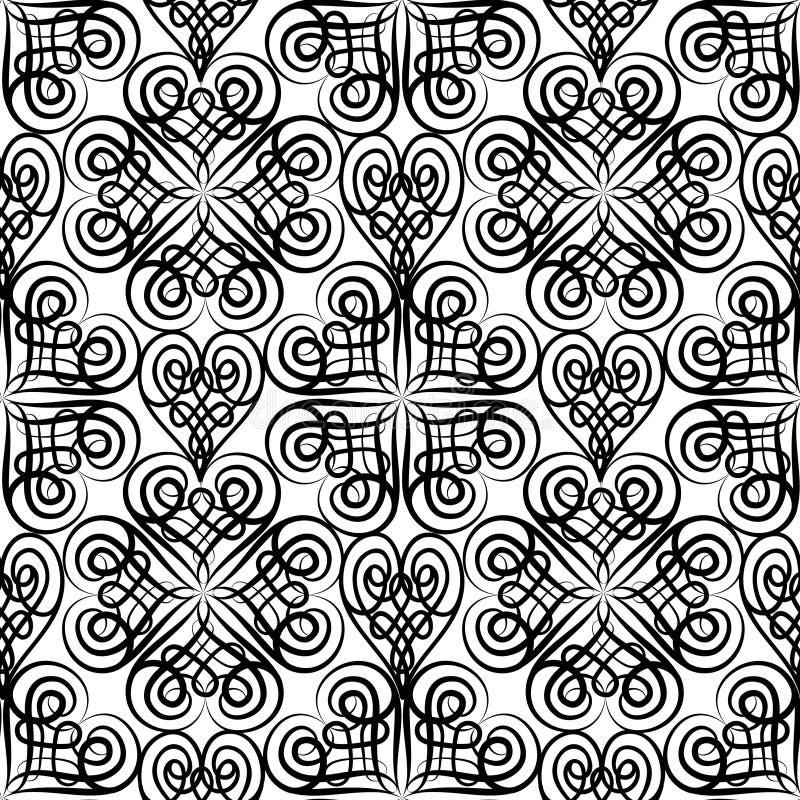 Modèle sans couture floral abstrait avec la ligne noire et blanche ornam illustration libre de droits