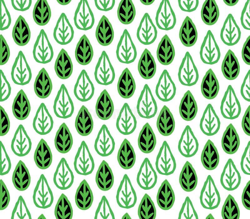 Modèle sans couture floral abstrait avec les feuilles ornementales Wh de feuille illustration de vecteur