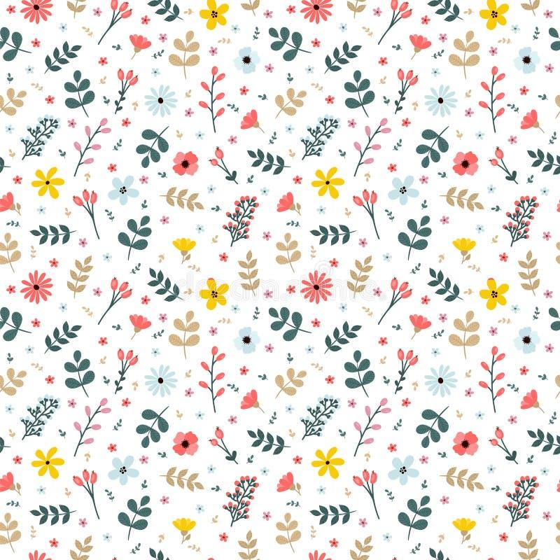 Modèle sans couture floral avec des branches, des fleurs et des feuilles illustration libre de droits