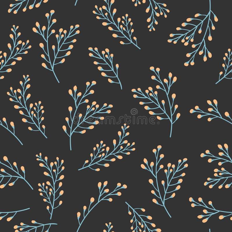 Modèle sans couture floral avec des usines et des branches Fond botanique de tissu pour le textile, s'enveloppant, papier peint c illustration de vecteur