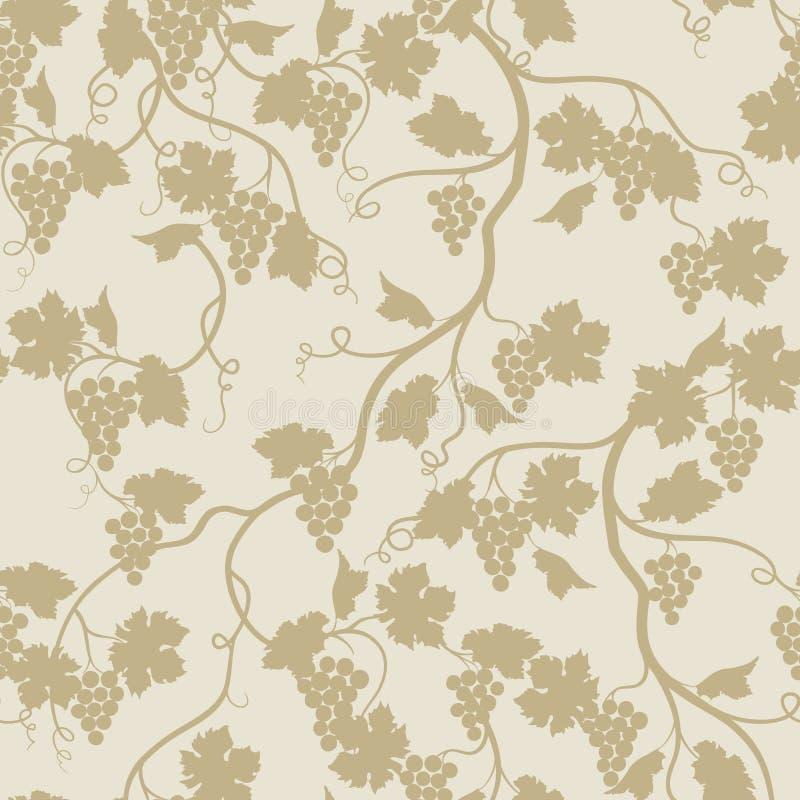 Modèle sans couture floral avec la branche de raisin Rétro wallpa de Wineyard illustration libre de droits