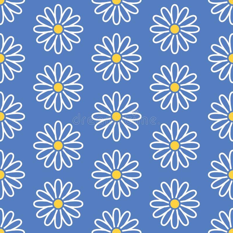 Modèle sans couture floral avec la ligne plate icônes des guirlandes Usine de camomille de jardin de fond de fleur belle bleu illustration de vecteur