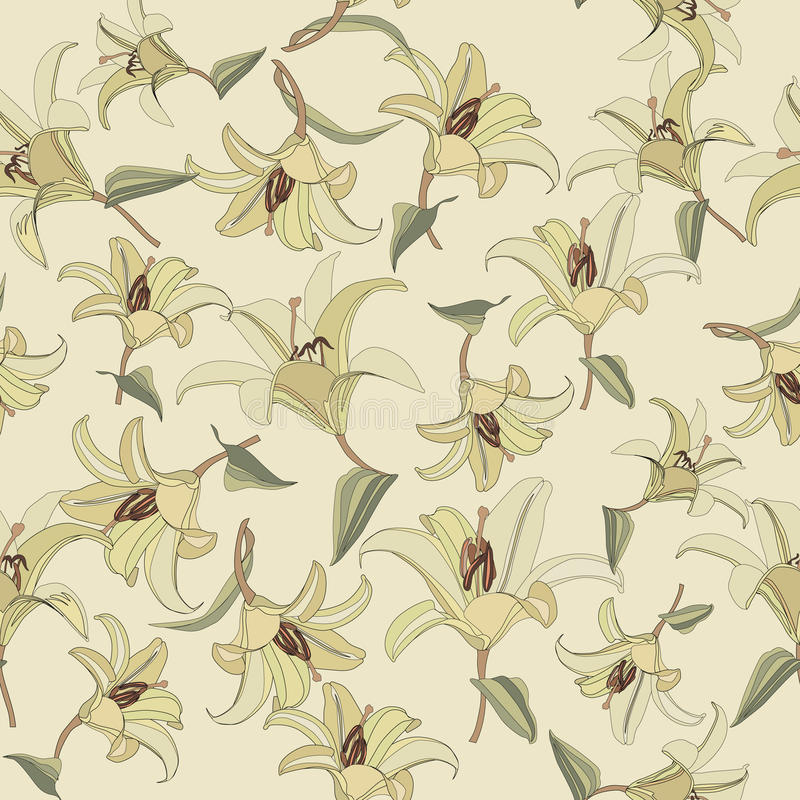 Modèle sans couture floral avec le lis doux de fleurs illustration stock