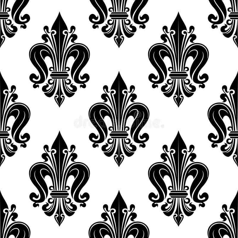 Modèle sans couture floral avec le motif de fleur de lis illustration de vecteur