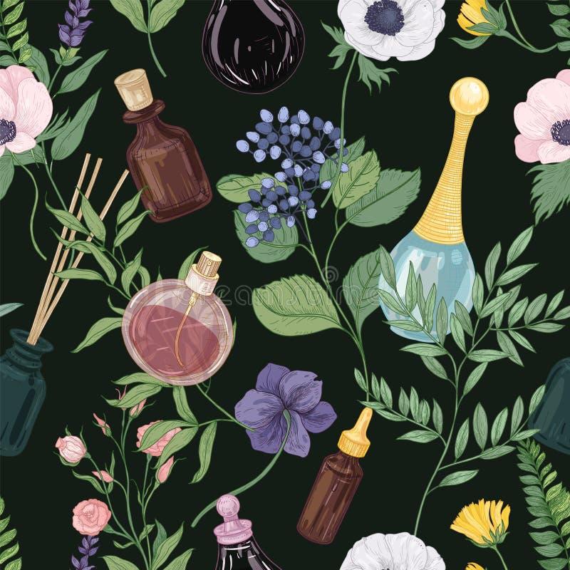 Modèle sans couture floral avec les fleurs de floraison et le parfum d'offre magnifique dans des bouteilles en verre ou des flaco illustration libre de droits