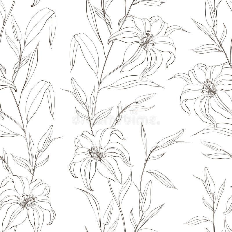 Modèle sans couture floral avec les fleurs douces de lis. illustration libre de droits