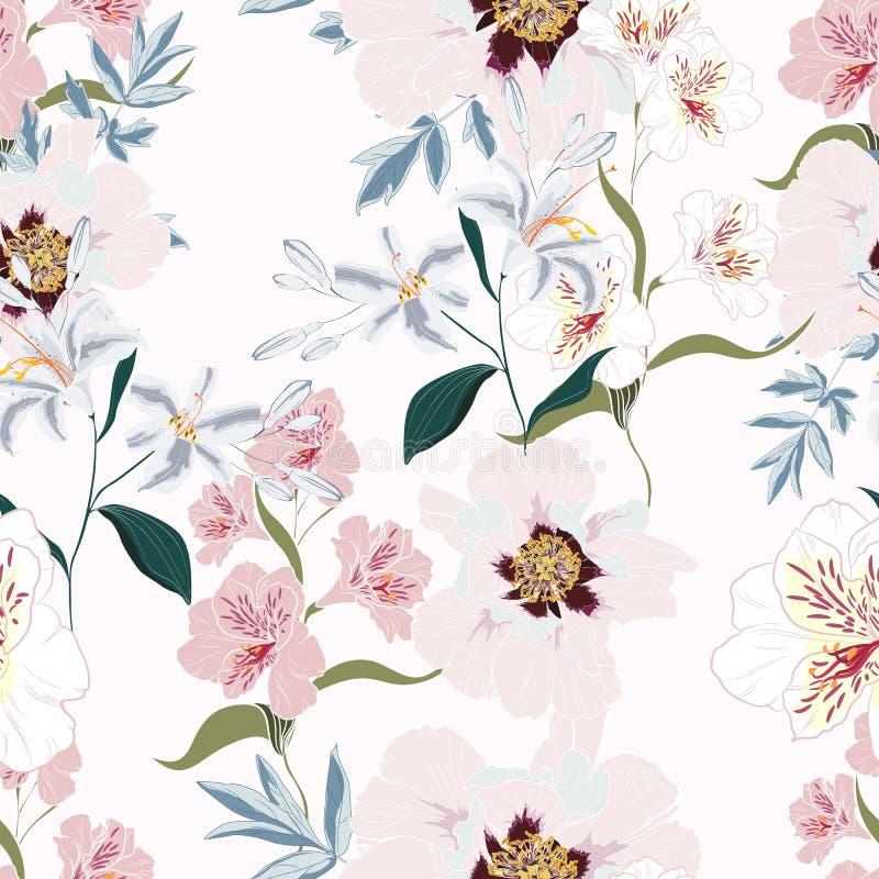 Modèle sans couture floral avec les fleurs roses, l'alstroemeria et les lis de pivoine illustration de vecteur