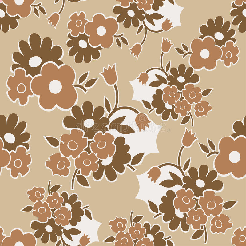 Modèle sans couture floral avec les fleurs simples illustration libre de droits
